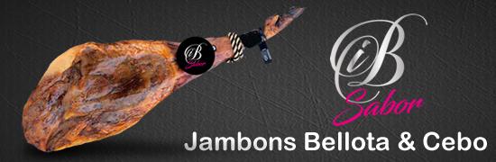 Jambons Bellota entiers, jambons Bellota déssosés, jambons Cebo entiers, jambons Cebo désossés